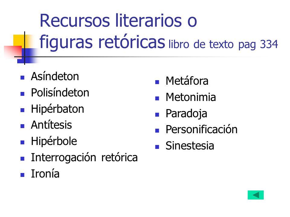 Recursos literarios o figuras retóricas libro de texto pag 334