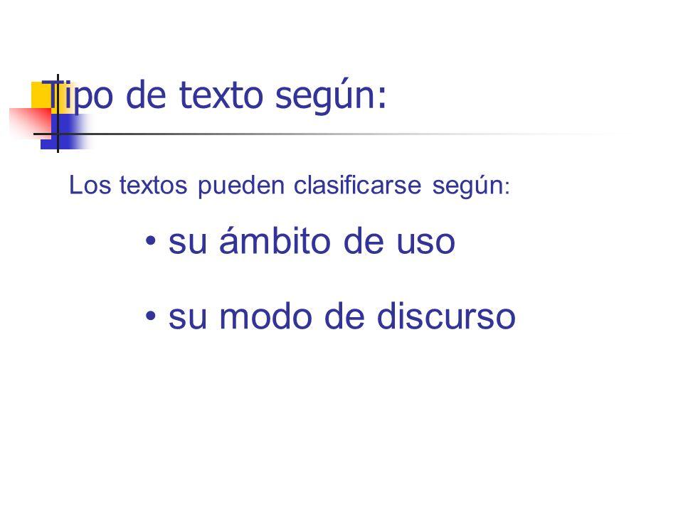Tipo de texto según: su ámbito de uso su modo de discurso