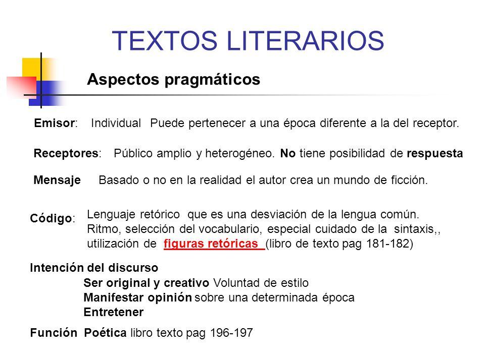 TEXTOS LITERARIOS Aspectos pragmáticos Emisor: Individual