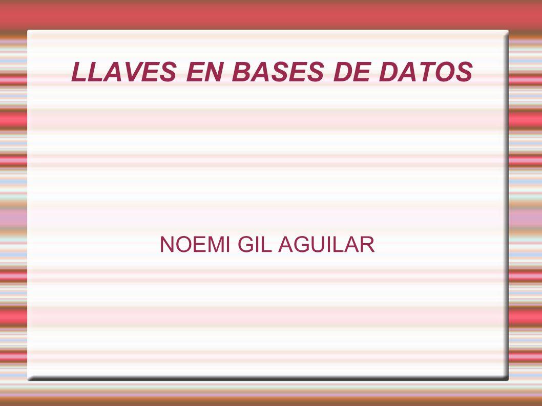 LLAVES EN BASES DE DATOS