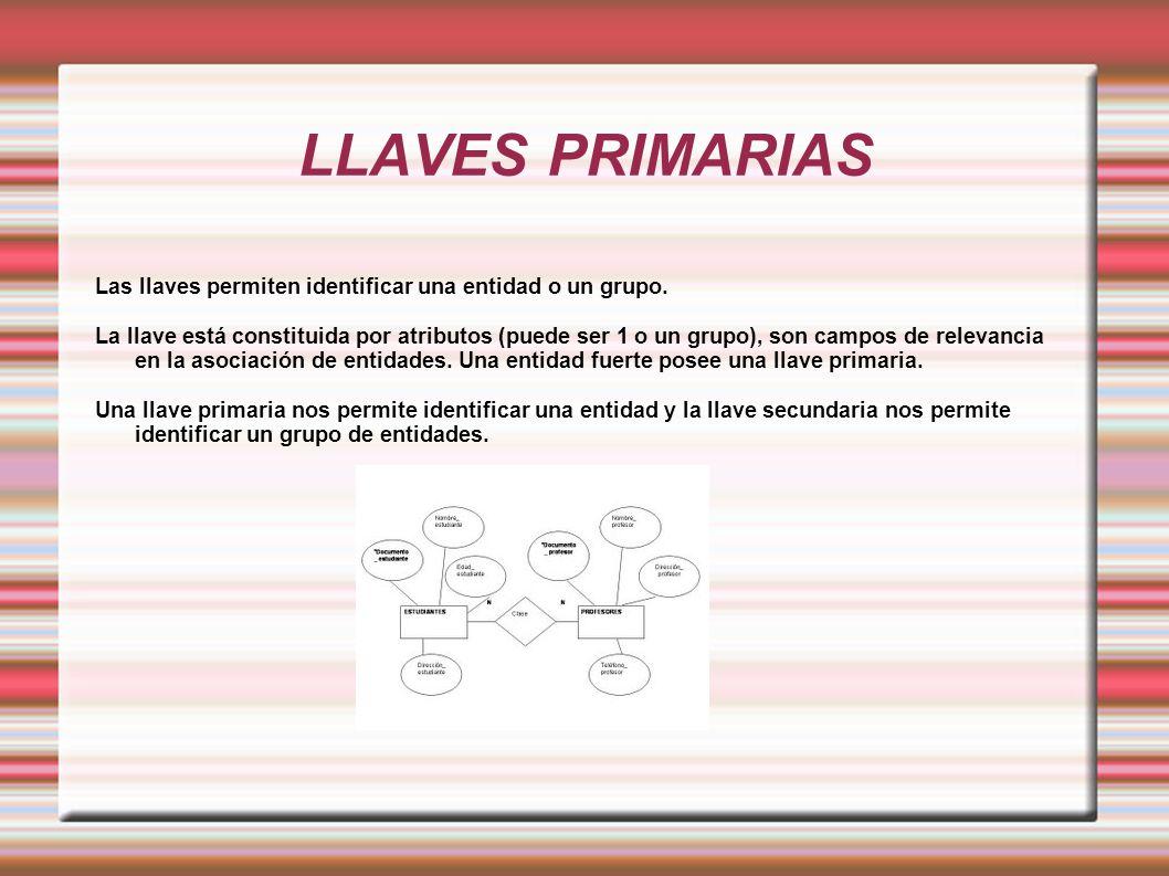 LLAVES PRIMARIAS Las llaves permiten identificar una entidad o un grupo.