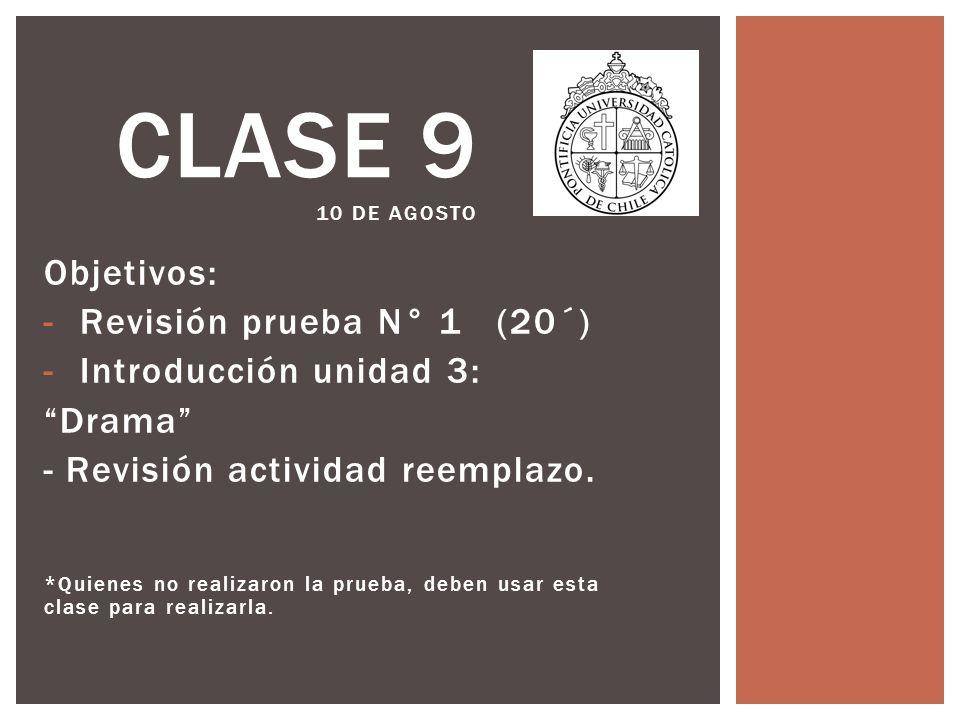 Clase 9 10 de agosto Objetivos: Revisión prueba N° 1 (20´)