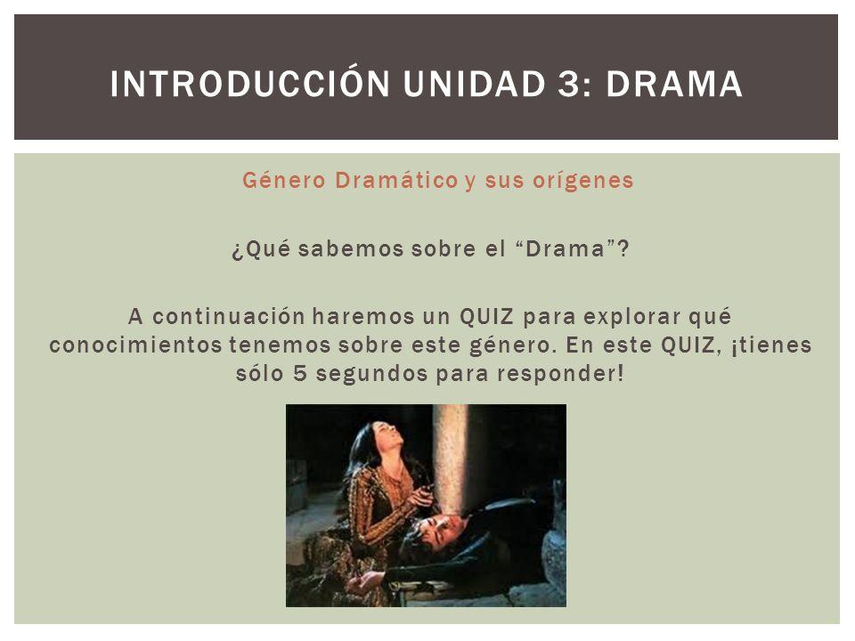 Introducción Unidad 3: drama