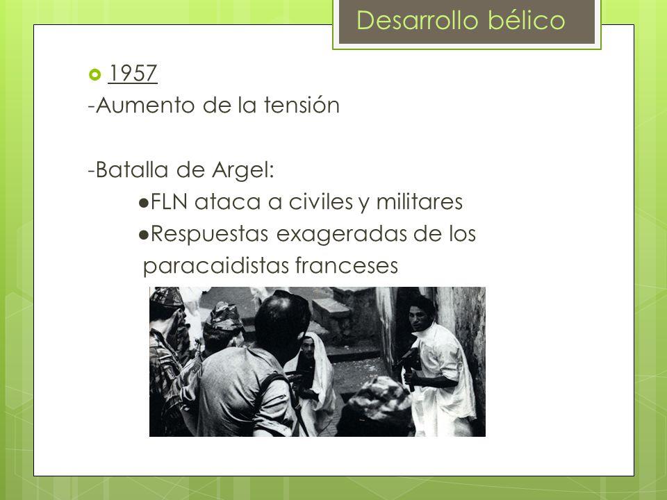 Desarrollo bélico 1957 -Aumento de la tensión -Batalla de Argel: