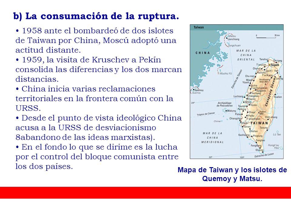 Mapa de Taiwan y los islotes de Quemoy y Matsu.