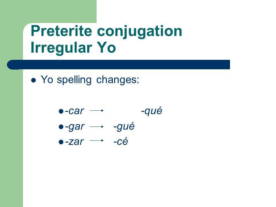 Preterite conjugation Irregular Yo