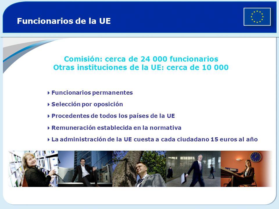 Funcionarios de la UE Comisión: cerca de 24 000 funcionarios Otras instituciones de la UE: cerca de 10 000.