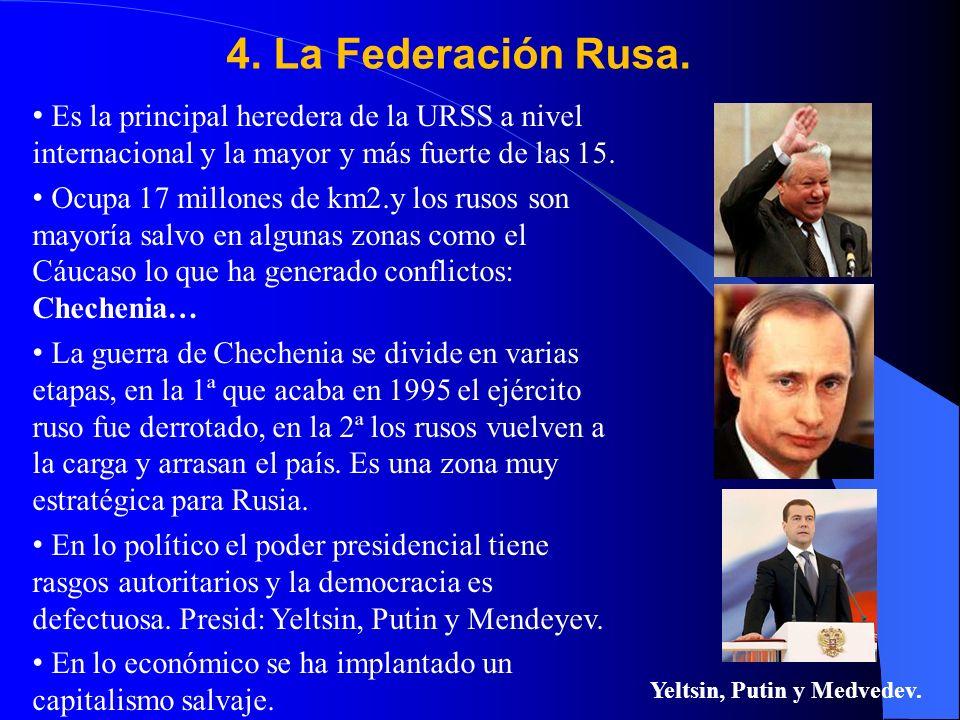 Yeltsin, Putin y Medvedev.