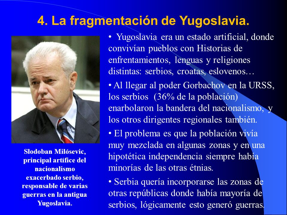 4. La fragmentación de Yugoslavia.