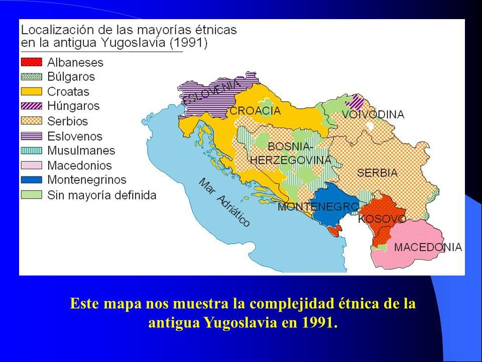 Este mapa nos muestra la complejidad étnica de la antigua Yugoslavia en 1991.