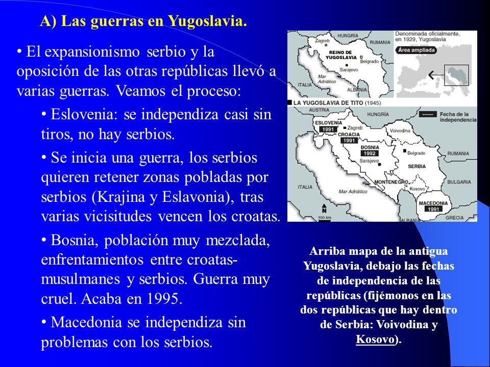 A) Las guerras en Yugoslavia.