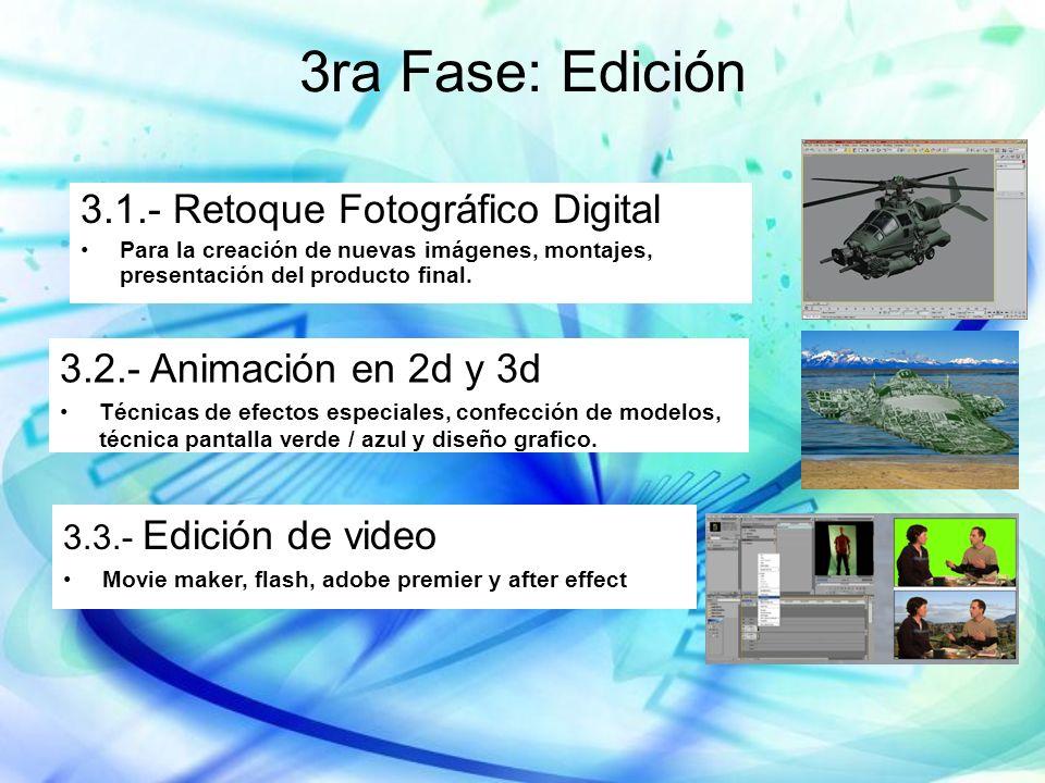 3ra Fase: Edición 3.1.- Retoque Fotográfico Digital