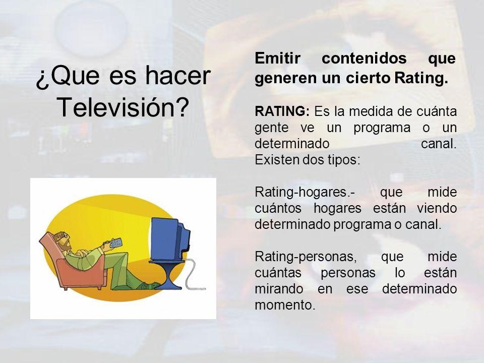 ¿Que es hacer Televisión