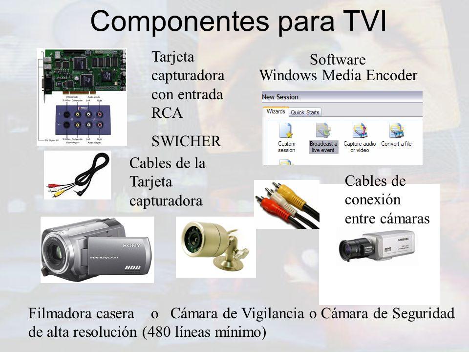 Componentes para TVI Tarjeta capturadora con entrada RCA Software