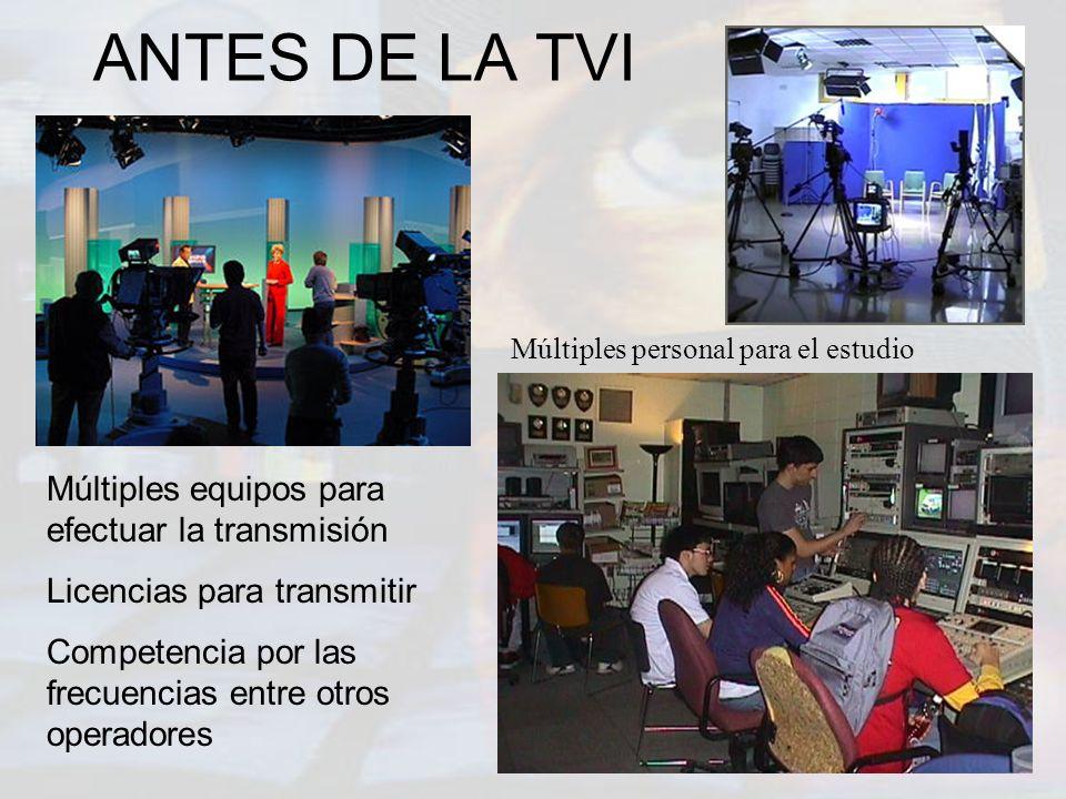 ANTES DE LA TVI Múltiples equipos para efectuar la transmisión