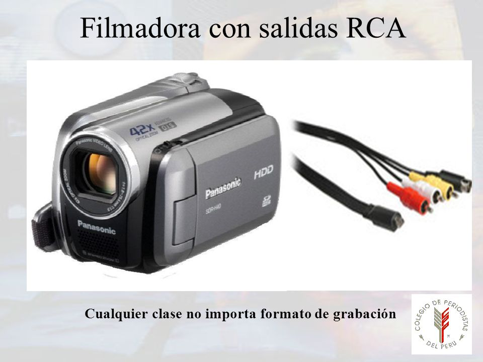 Filmadora con salidas RCA