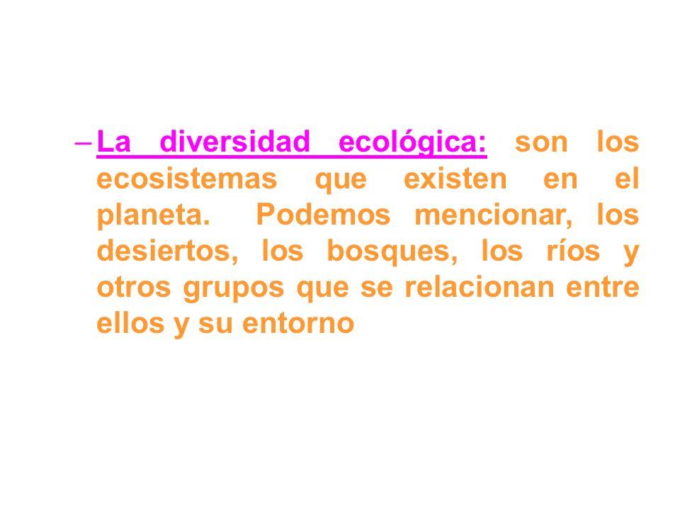 La diversidad ecológica: son los ecosistemas que existen en el planeta