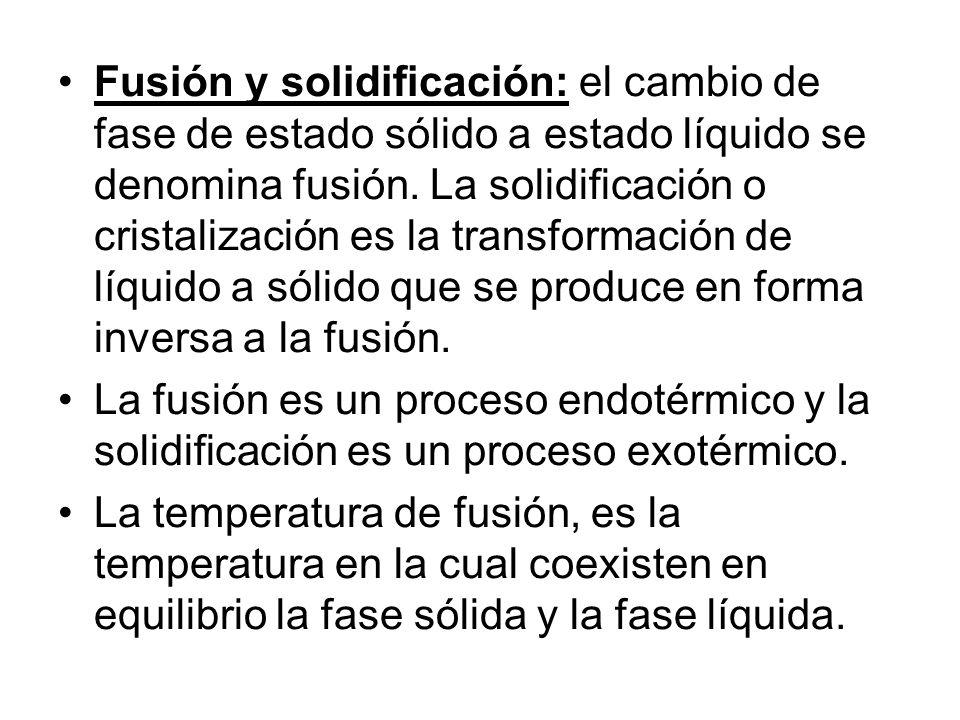 Fusión y solidificación: el cambio de fase de estado sólido a estado líquido se denomina fusión. La solidificación o cristalización es la transformación de líquido a sólido que se produce en forma inversa a la fusión.
