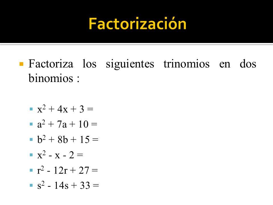 Factorización Factoriza los siguientes trinomios en dos binomios :