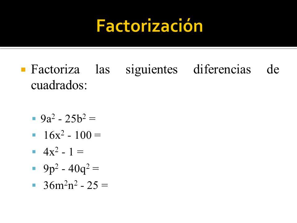 Factorización Factoriza las siguientes diferencias de cuadrados: