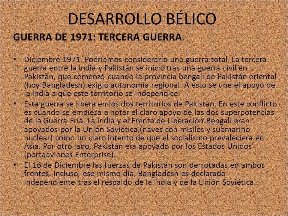 DESARROLLO BÉLICO GUERRA DE 1971: TERCERA GUERRA.