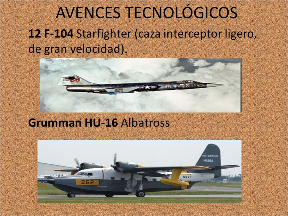 AVENCES TECNOLÓGICOS 12 F-104 Starfighter (caza interceptor ligero, de gran velocidad).