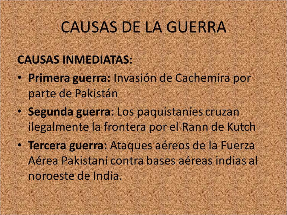 CAUSAS DE LA GUERRA CAUSAS INMEDIATAS:
