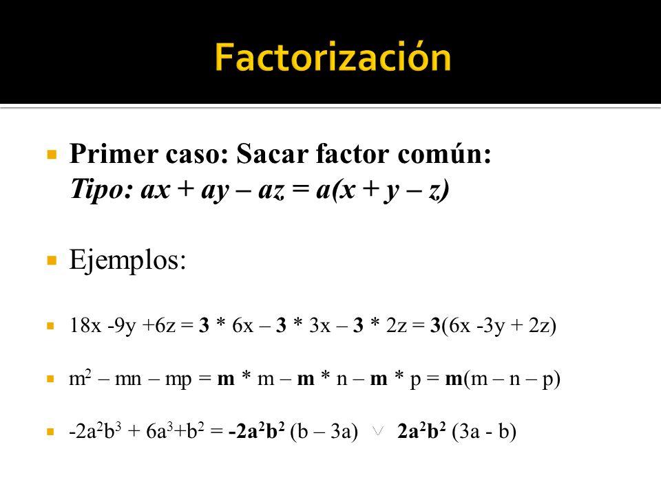 Factorización Primer caso: Sacar factor común: