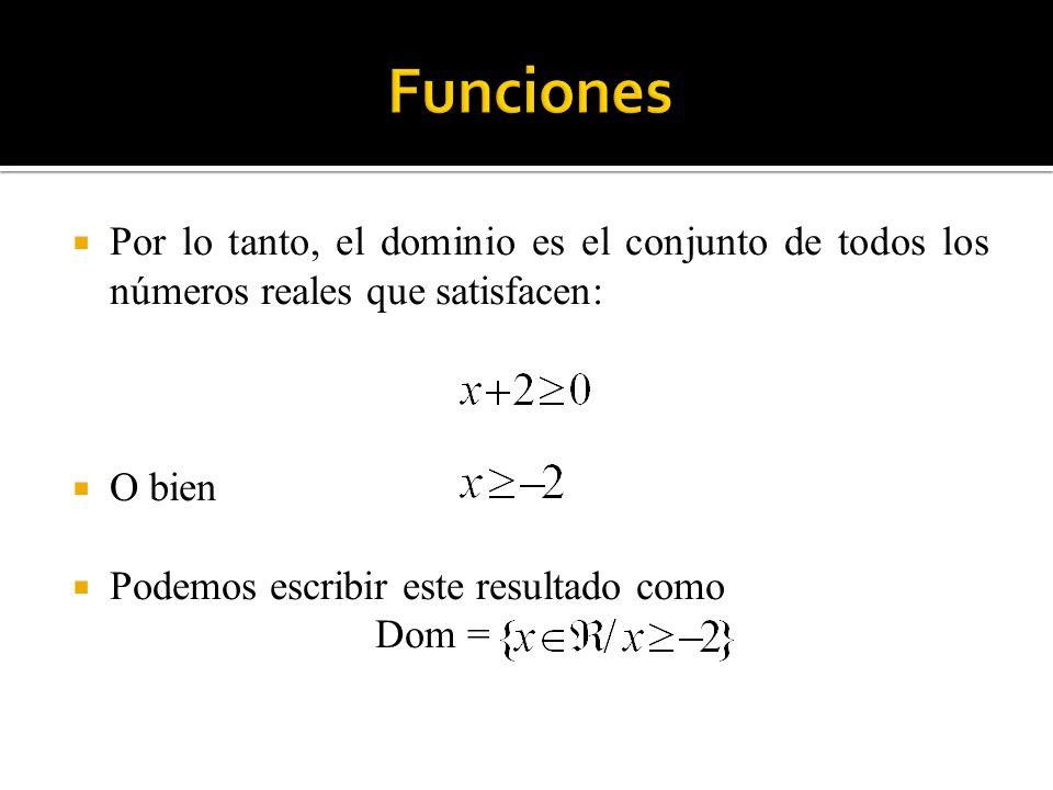 Funciones Por lo tanto, el dominio es el conjunto de todos los números reales que satisfacen: O bien.