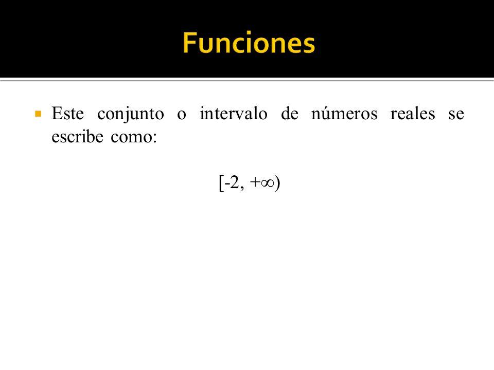 Funciones Este conjunto o intervalo de números reales se escribe como: