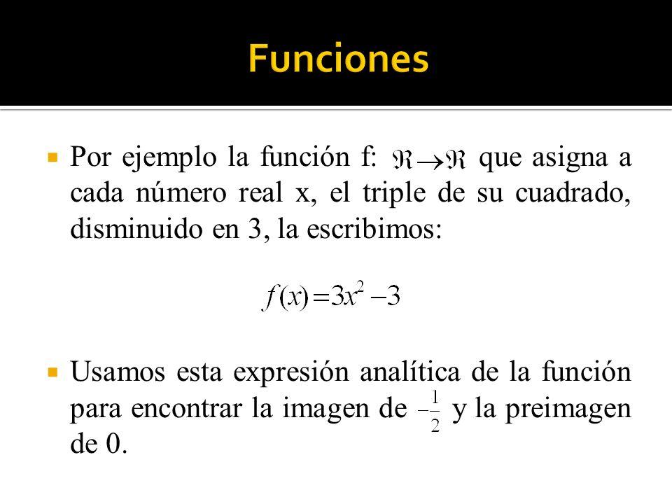 Funciones Por ejemplo la función f: que asigna a cada número real x, el triple de su cuadrado, disminuido en 3, la escribimos: