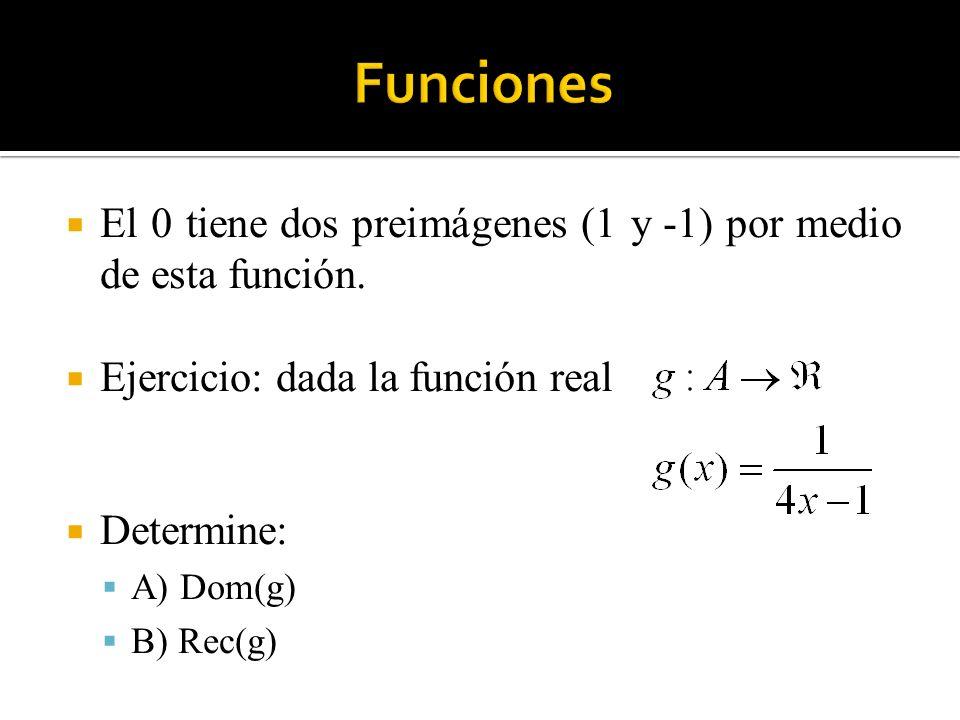 Funciones El 0 tiene dos preimágenes (1 y -1) por medio de esta función. Ejercicio: dada la función real.