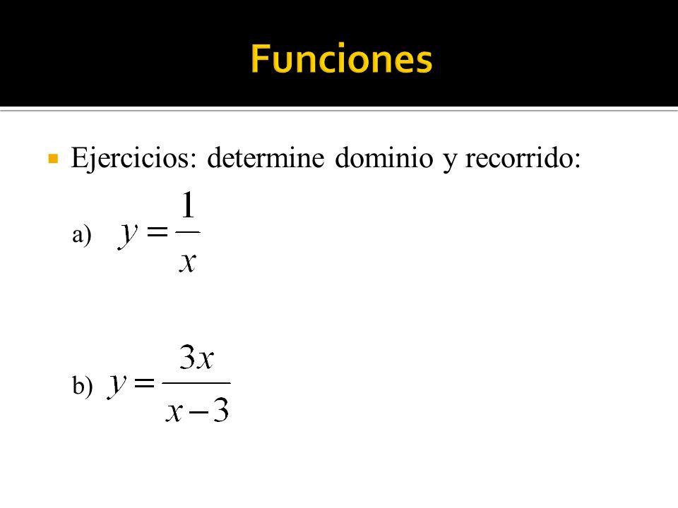 Funciones Ejercicios: determine dominio y recorrido: a) b)