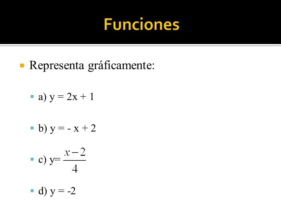 Funciones Representa gráficamente: a) y = 2x + 1 b) y = - x + 2 c) y=