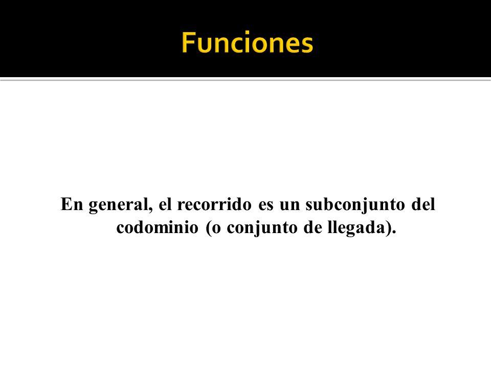 Funciones En general, el recorrido es un subconjunto del codominio (o conjunto de llegada).