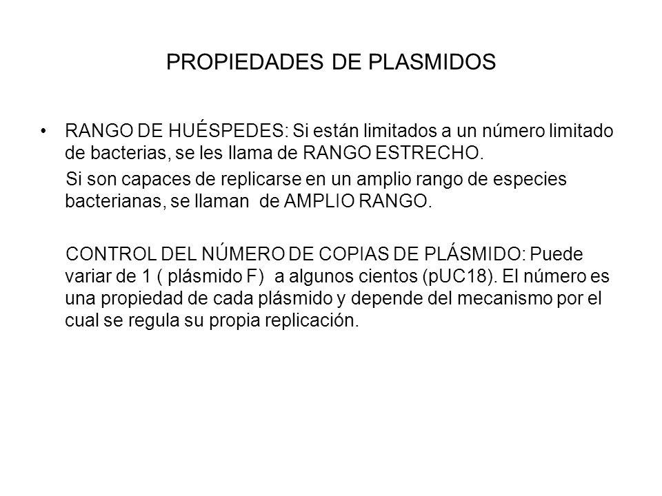 PROPIEDADES DE PLASMIDOS