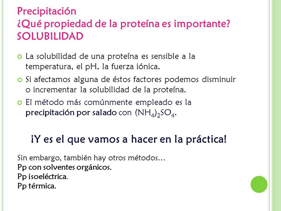 Precipitación ¿Qué propiedad de la proteína es importante SOLUBILIDAD