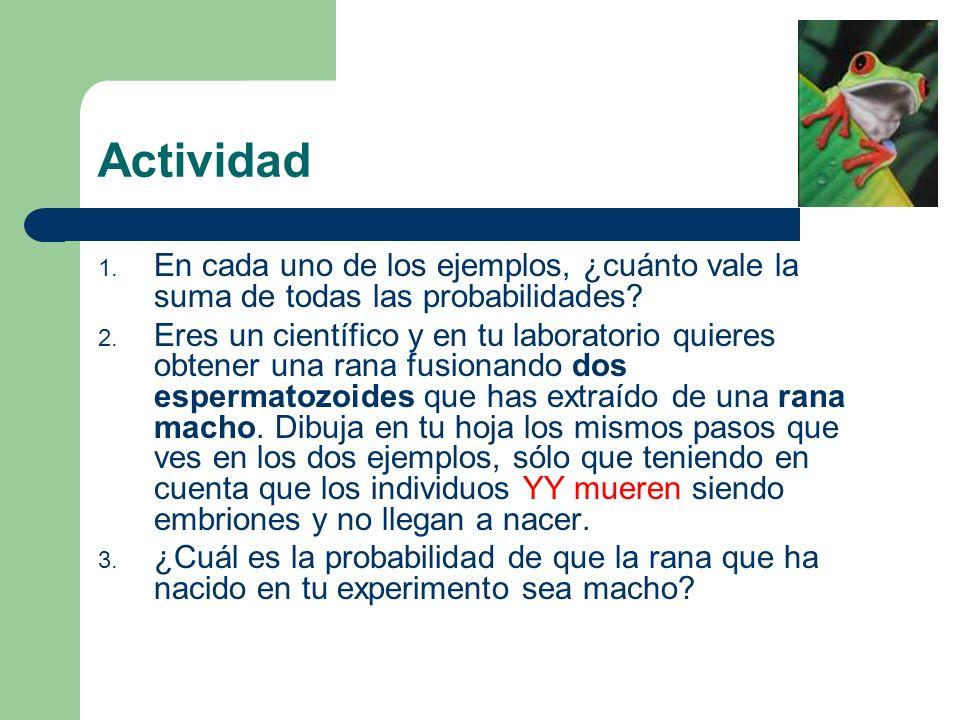 Actividad En cada uno de los ejemplos, ¿cuánto vale la suma de todas las probabilidades