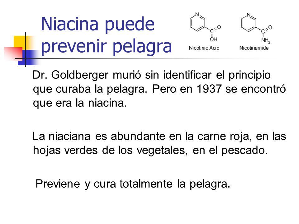 Niacina puede prevenir pelagra