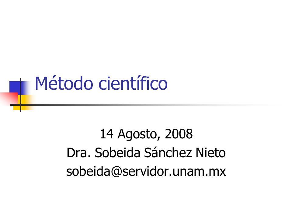14 Agosto, 2008 Dra. Sobeida Sánchez Nieto sobeida@servidor.unam.mx