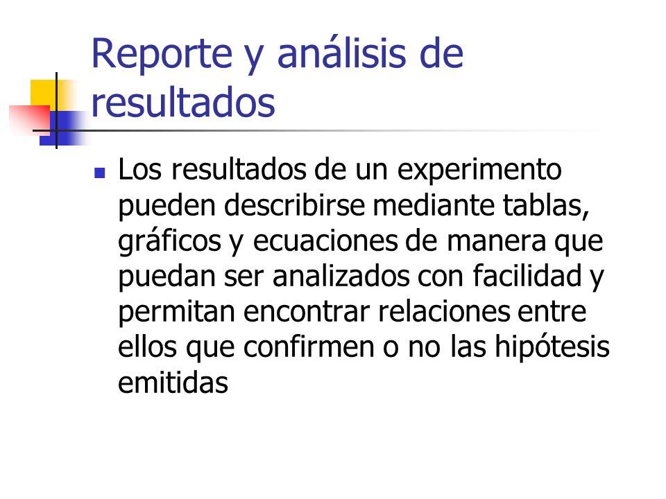 Reporte y análisis de resultados