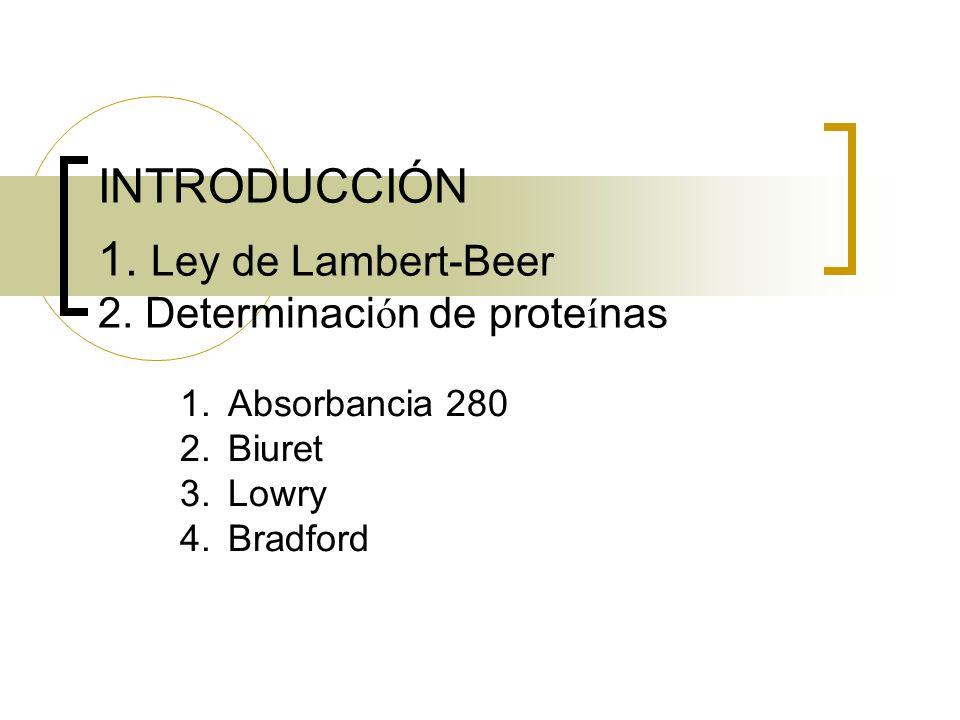 INTRODUCCIÓN 1. Ley de Lambert-Beer 2. Determinación de proteínas