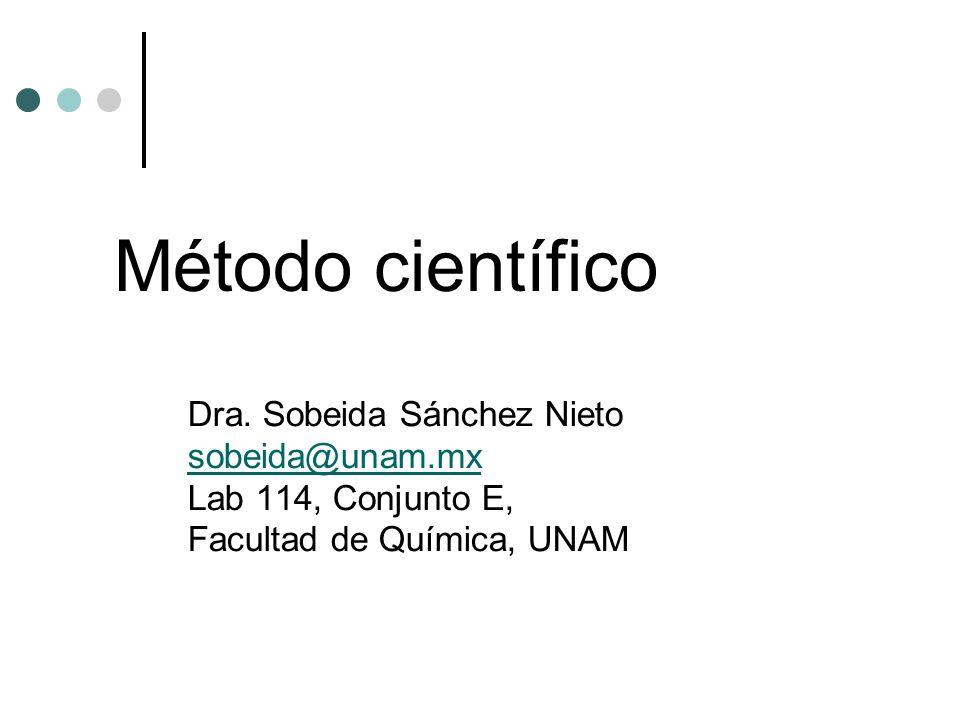 Método científico Dra. Sobeida Sánchez Nieto sobeida@unam.mx