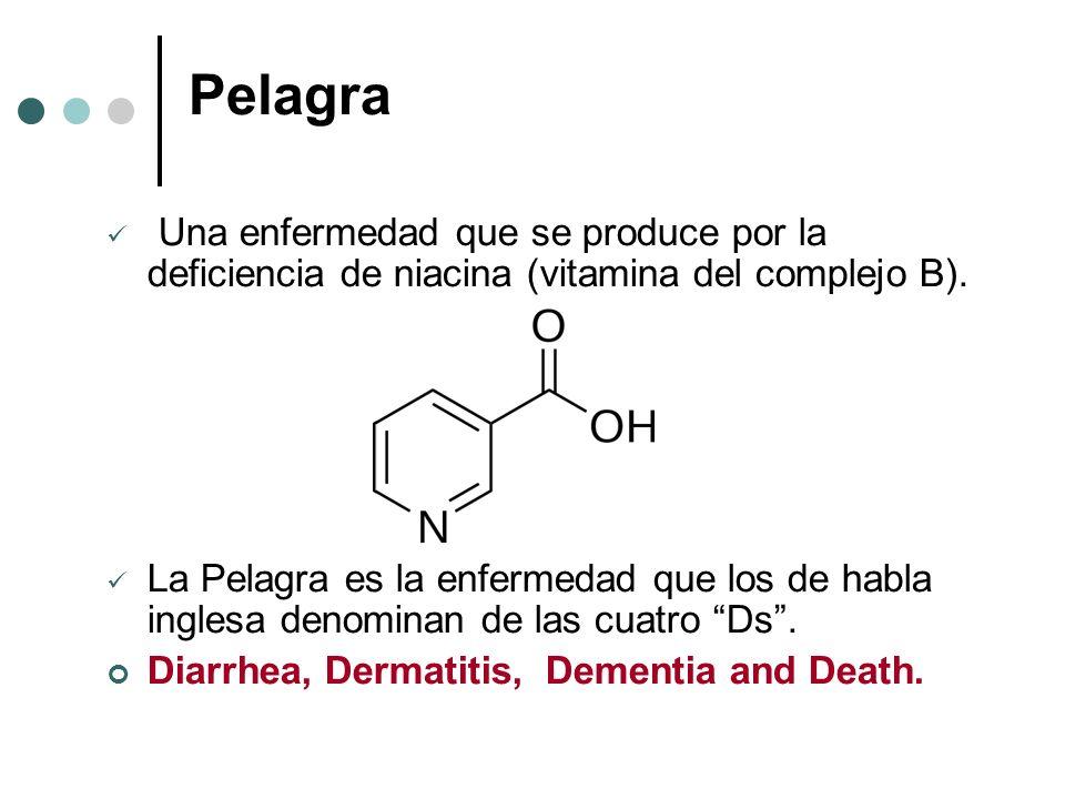 Pelagra Una enfermedad que se produce por la deficiencia de niacina (vitamina del complejo B).