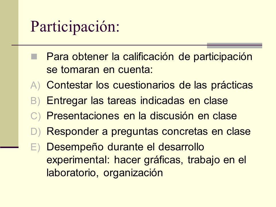 Participación:Para obtener la calificación de participación se tomaran en cuenta: Contestar los cuestionarios de las prácticas.