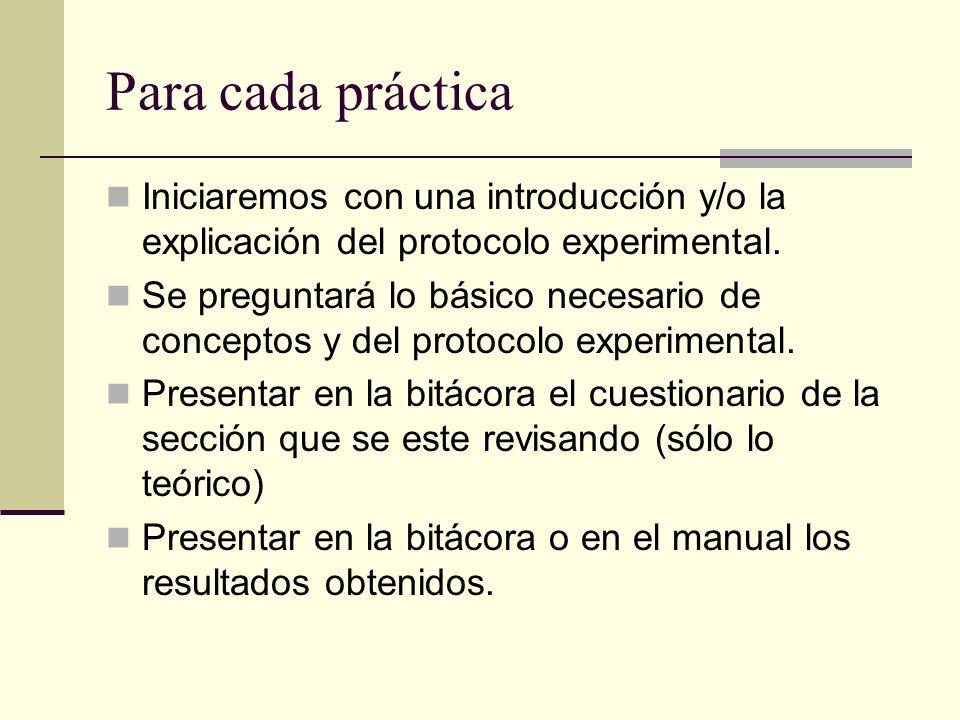 Para cada práctica Iniciaremos con una introducción y/o la explicación del protocolo experimental.