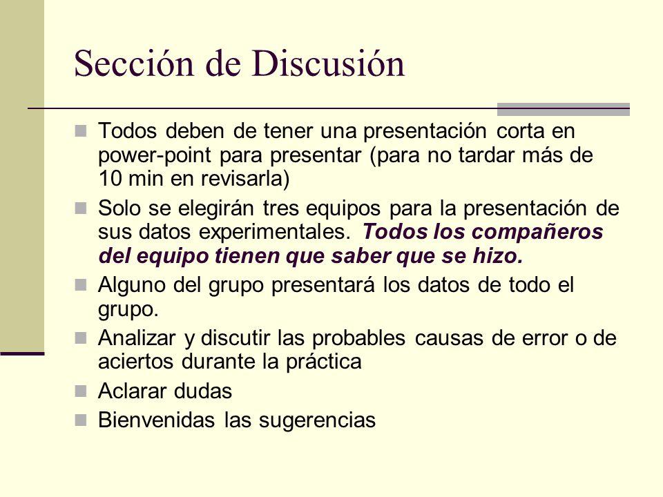 Sección de Discusión Todos deben de tener una presentación corta en power-point para presentar (para no tardar más de 10 min en revisarla)