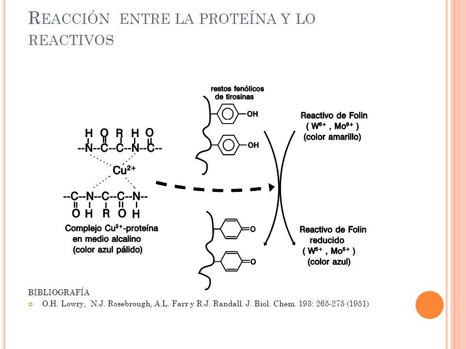Reacción entre la proteína y lo reactivos