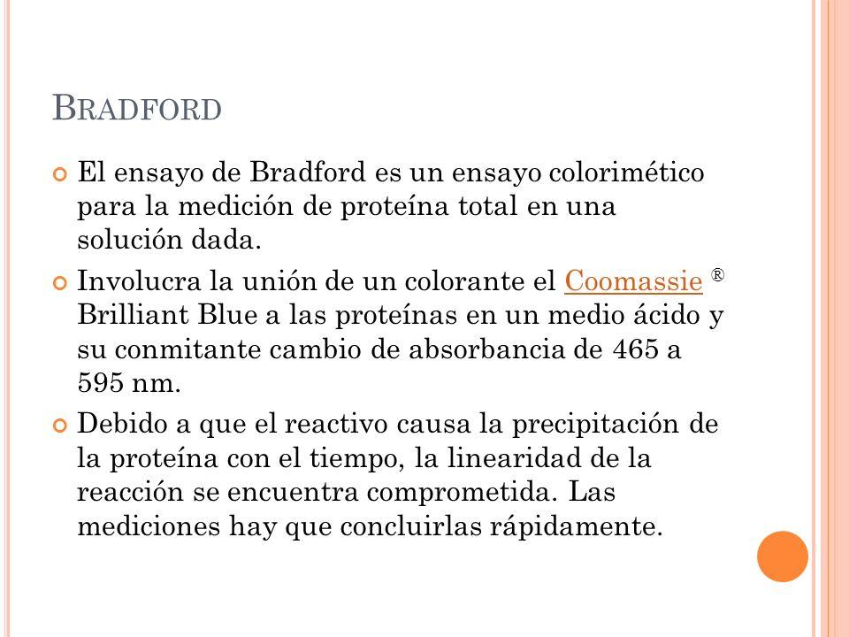 Bradford El ensayo de Bradford es un ensayo colorimético para la medición de proteína total en una solución dada.
