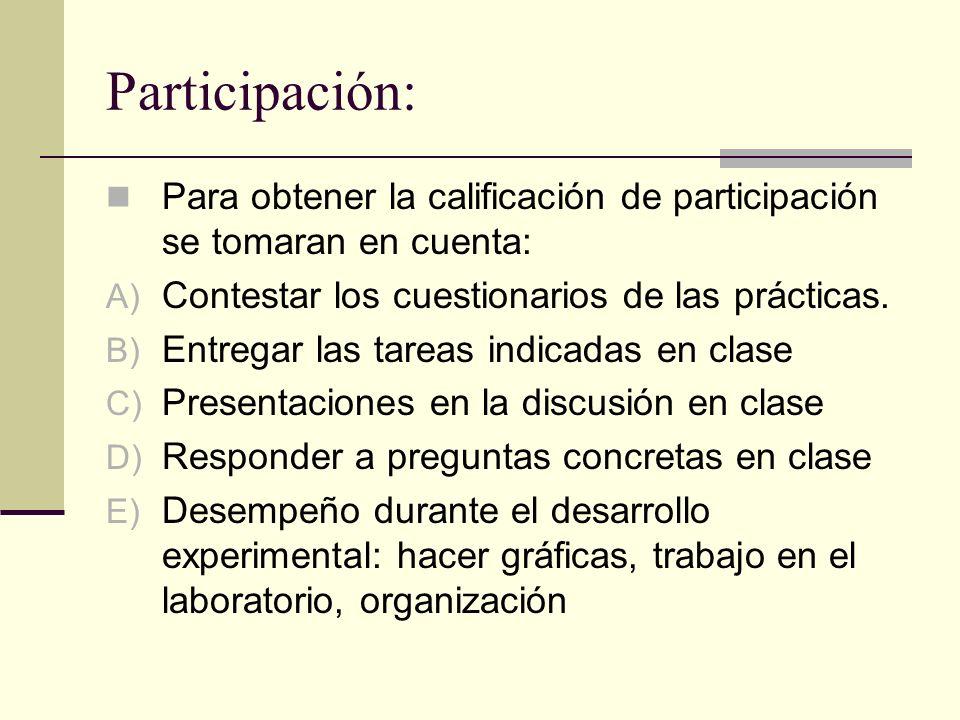 Participación: Para obtener la calificación de participación se tomaran en cuenta: Contestar los cuestionarios de las prácticas.